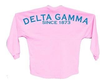 dg delta gamma since jersey choose your colors sorority oversized jersey