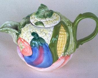 Fitz & Floyd Majolica Vegetable Garden Teapot