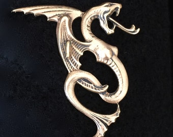 Brass Femme Fatal Winged Dragon Pin