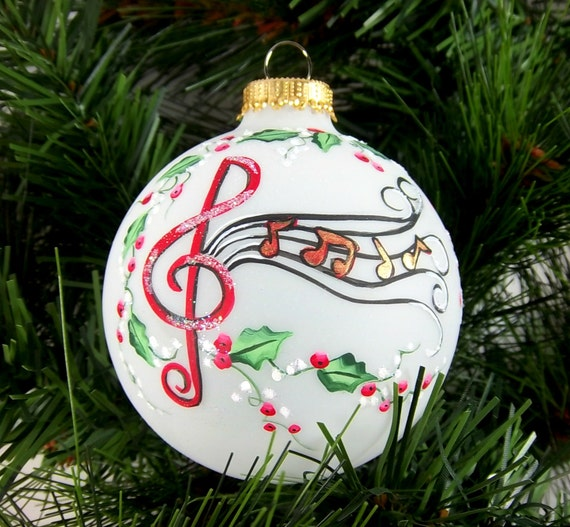 Musical Notes Ornament Christmas Hand-Painted Holly and