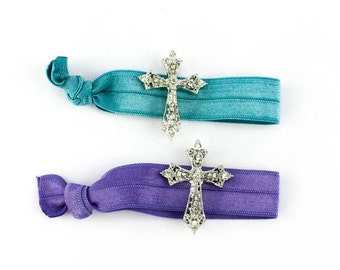 Christian Hair Tie Package - 2 Rhinestone Elastic Hair Ties that Double as Bracelets