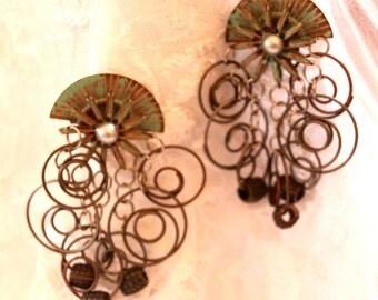 Vintage Metal Dangly Earrings