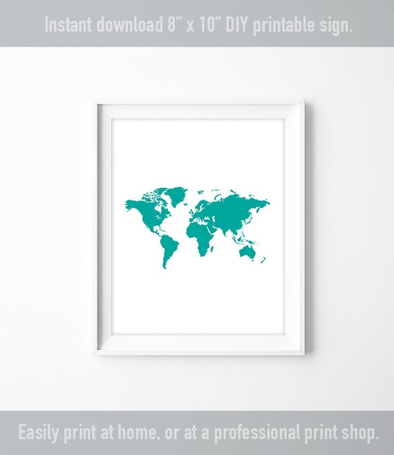 World map poster travel map art printable poster teal world map poster travel map art printable poster teal green modern art diy nursery sign pdf iconic shapes gumiabroncs Image collections