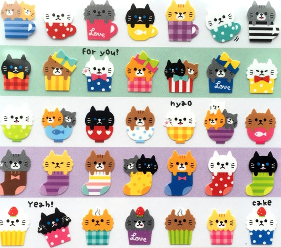 Kawaii Cat Stickers - Japanese Stickers - Japanese Cat Stickers -  Cats in Cups - Cats in Bowls - Black Cats - White Cats (S31)