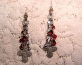 Vintage French Religious Cross Medal Earrings Red Rhinestone Earrings Sterling Silver Earwires Long Assemblage Earrings Repurposed Earrings