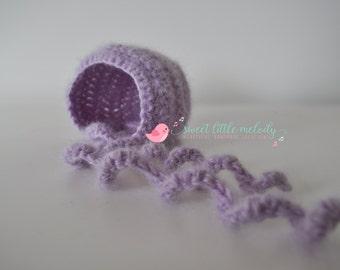 Mohair Baby Bonnet, Newborn Bonnet, Crochet Bonnet, Photo Prop, Baby Bonnet, Newborn Hat, Baby Beanie, Crochet Newborn Bonnet, Newborn Prop
