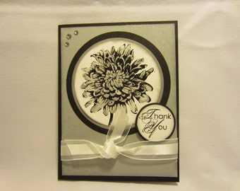 Silver Flower Thank You Card
