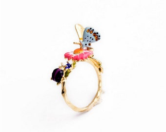 Blue Butterfly Pink Flower Purple Ladybug Green Gold Alloy Metal Statement Ring