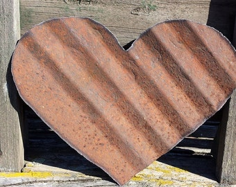Heart made out of recycled metal roofing
