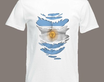 Argentina Flag T-Shirt  see Muscles through Ripped T-Shirt Argentine in all sizes