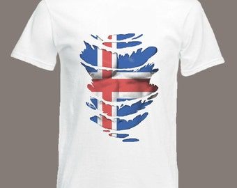 Icelandic Flag T-Shirt see Muscles through Ripped T-Shirt Iceland in all sizes