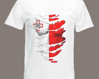 Maltese Flag T-Shirt See Muscles through Ripped T-Shirt Malta in all sizes
