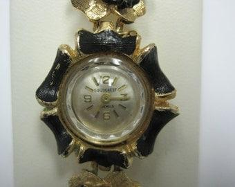 Guildcrest Vintage Ladies Bracelet Watch, Flexible Flower Bracelet Style Wristwatch, Monarch Watch Co. Circa 1950's, 23 Jewel Movement