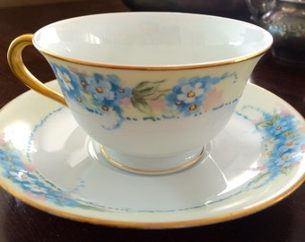 1947 Antique Vintage Noritake Tea Cup and Saucer Blue Hand Painted Flowers