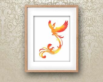 Watercolour Phoenix PRINTABLE DOWNLOAD Wall Art Feng Shui Red Orange Yellow Bird Fire Instant Digital Poster Print