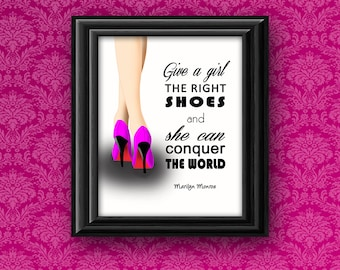 Marilyn Monroe Quote PRINTABLE Wall Art Pink Give a Girl the Right Shoes Black White Stiletto High Heel Instant Download Poster Print