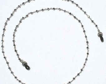 Sterling Silver and Silver Pyrite Beaded Eyeglass Chain 24""