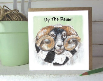 Up the Rams - Hand IIlustrated -  Greeting card  ----code oaf010
