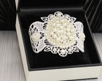 Handcrafted lace wedding cuff with white pearl cluster (Sasha)