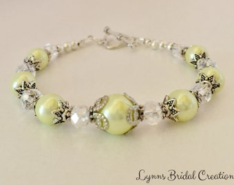 Vintage Bridesmaid Bracelet Yellow Pearl Bracelet Crystal Jewelry Bridesmaid Gift Jewelry Set Vintage Wedding Jewelry Pearl Jewelry