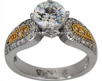 Diamond Engagement Ring 1 Carat Diamond 14K White Gold And 14k Yellow Gold