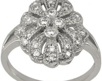 Victorian Diamond Ring Filigree Ring With Milgrain In 14k White Gold