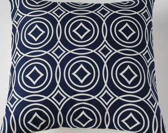 Blue Geometric Circles and Diamonds Contemporary Decorative Home Decor Pillow Cushion Cover 16""