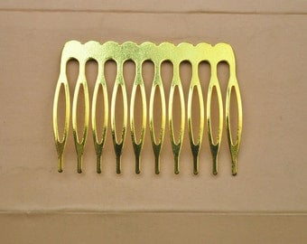 50 PCS 53x39mm Gold Plated Hair Combs Findings,10 teeth DIY Combs accessories