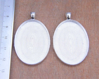 10pcs large oval silver pendant  trays blanks photo frames for 30x40mm cabochon setting