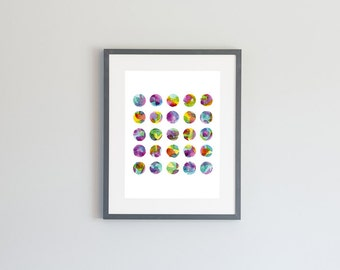Hand Painted Watercolor Archival Giclée Print - Multi Colored Dots
