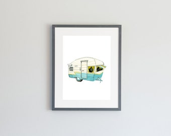 Hand Painted Watercolor Archival Giclée Print - Vintage RV