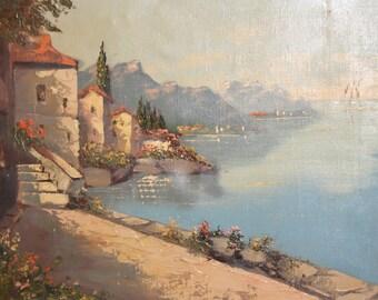Antique landscape lake oil painting signed