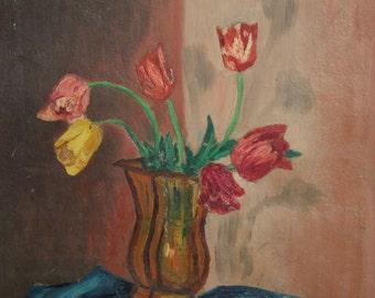 Impressionist tulips oil still life painting