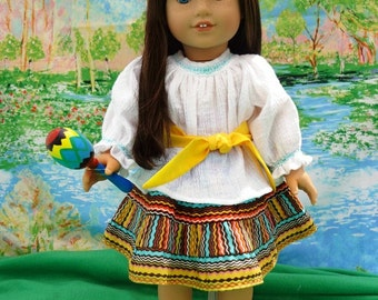 5 Piece Southwestern Tiered Skirt with Blouse-18 in. Doll Clothes-American Girl Doll Clothes