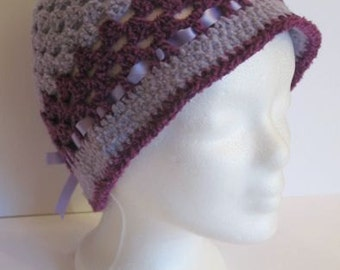 Beautiful Cap made of wool and satin ribbon