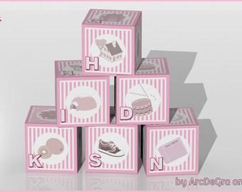 Educational Pink Digital baby ABC blocks - Alphabet - Papercraft Digital Toys by Arcdegra