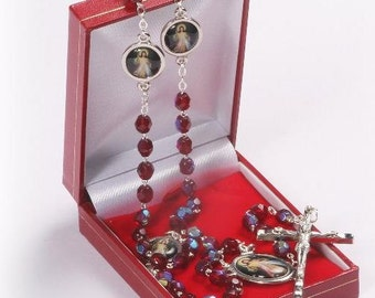 Divine Mercy of Jesus Rosary Beads. Divine Mercy Medals attached to Garnet Red Crystal Rosary Beads.
