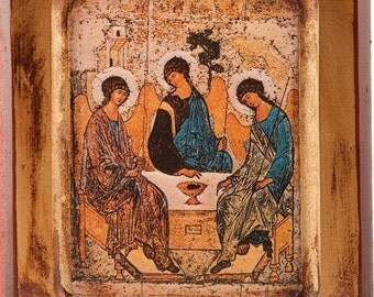 Wooden Icon of Rublev's Holy Trinity. Wall hanging Icon. Holy Trinity Icon.