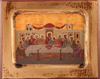 last supper wood icon christs last supper wooden last supper icon last supper plaque