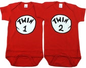 Twin Gifts, Twin 1 and Twin 2, Seuss Style Twins Gift, Twins, sizes from 0 to 12 months, TW12