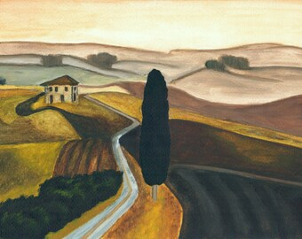 Tuscany. Good quality print of original painting, 12x16 inches.