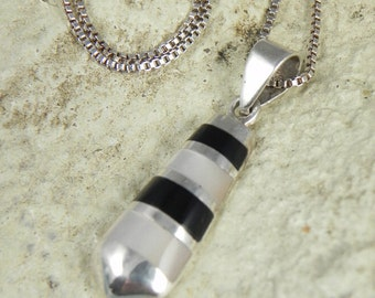 Black Onyx Mother of Pearl Pendant Necklace