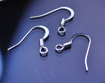 15mm--Silver plated copper ear hooks Ear Wires earrings --40pc(20pair)