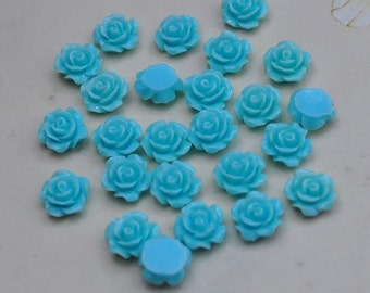 50pcs Rose Charms--DeepSkyBlue Resin Rose Flower Cabochon 8mm/Flat back Necklace, Pendants.