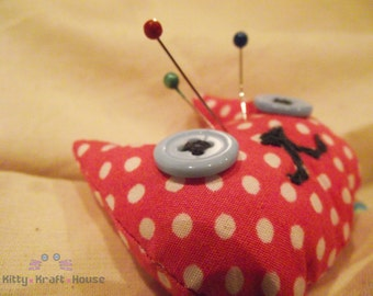 Handmade cat pincushion, pink polka dot