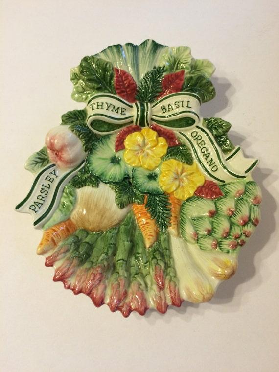 pictures of vintage herb gardens | Vintage Fitz & Floyd Herb Garden Serving Dish