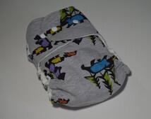 Organic Bamboo Fleece Hybrid Fitted Cloth Diaper Bear Jamboree Print on Heather Grey