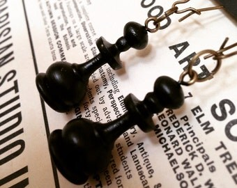 Vintage Chess Pawn Earrings