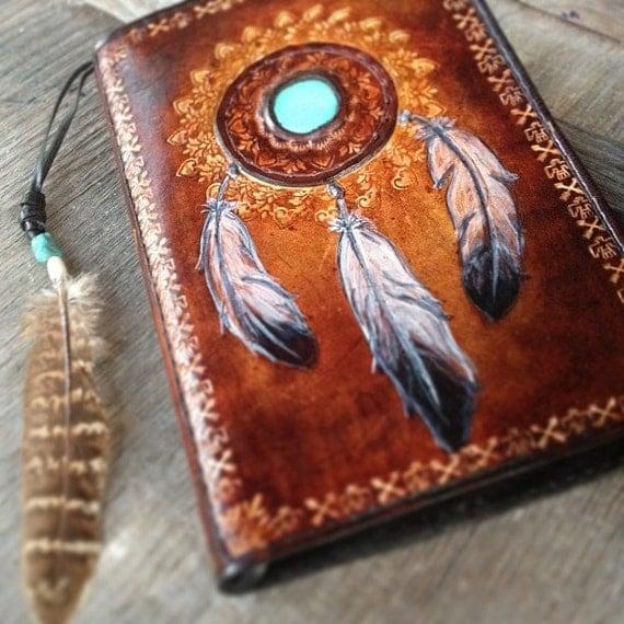 A5 Leather Diary covers Dream Catcher design Buffalo design