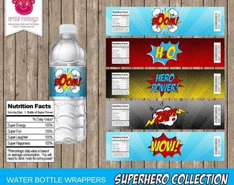 Printable Superhero Water Bottle Wrappers